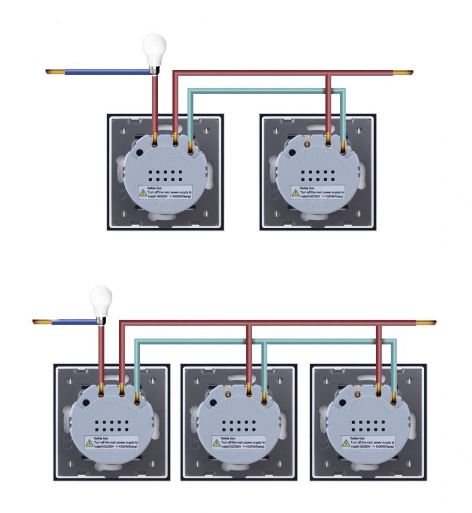 106 váltókapcsoló (alternatív) bekötés, kapcsolási rajz