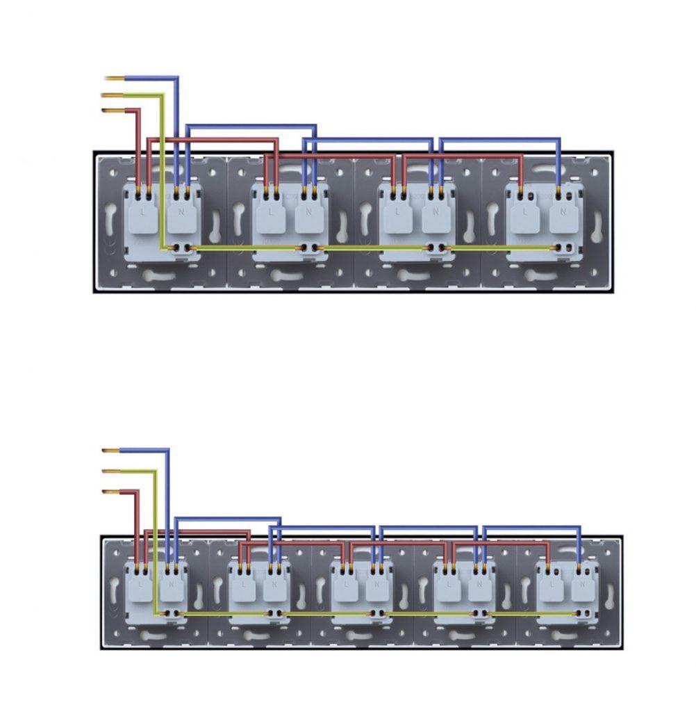 Üveg konnektor (dugalj) bekötés, kapcsolási rajz