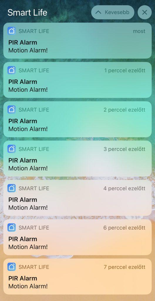 smartlife app mozgásérzékelő jelzés